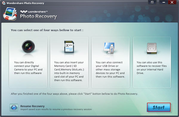 photo recovery interface